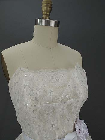 White Silver Metallic Lace Tulle Bust Detail