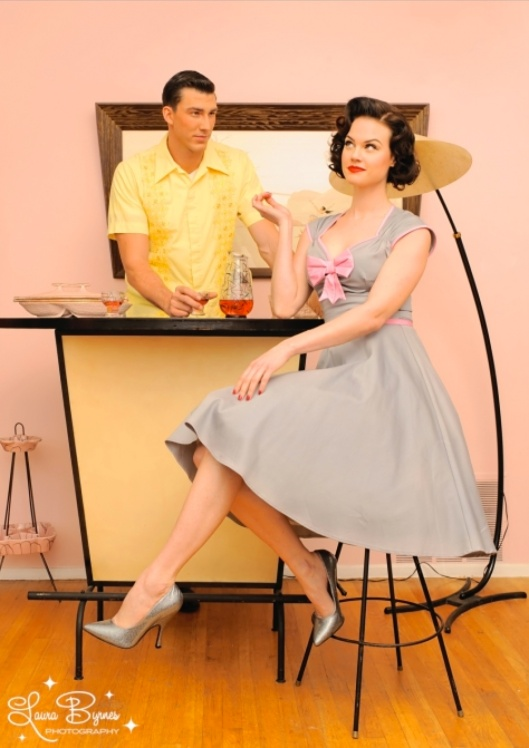 The Heidi dress in gray with pink bow by Pinup Couture