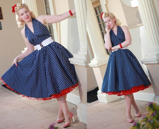 Navy & White Polka Dots Swing Dress