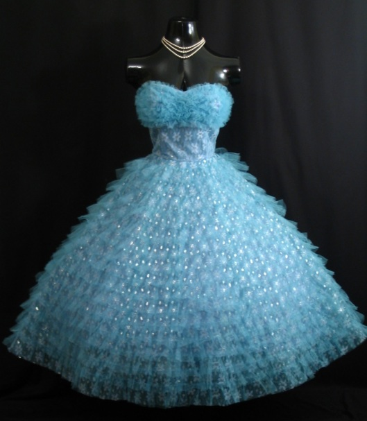 blue silver tulle