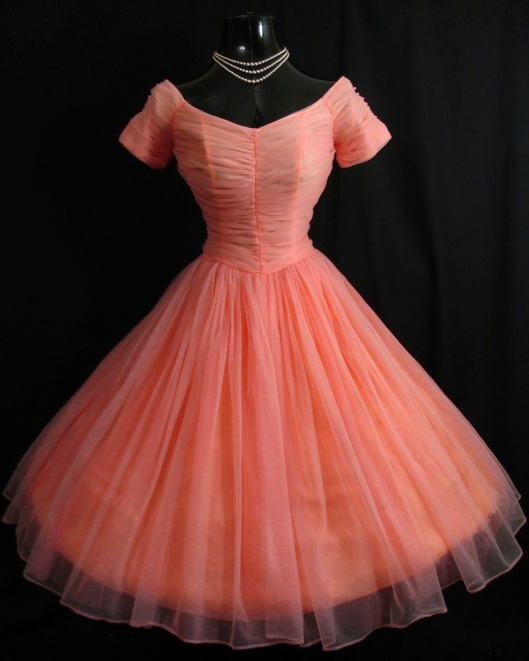 salmon pink ruched